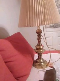 brass base with white lampshade table lamp 2059 mi