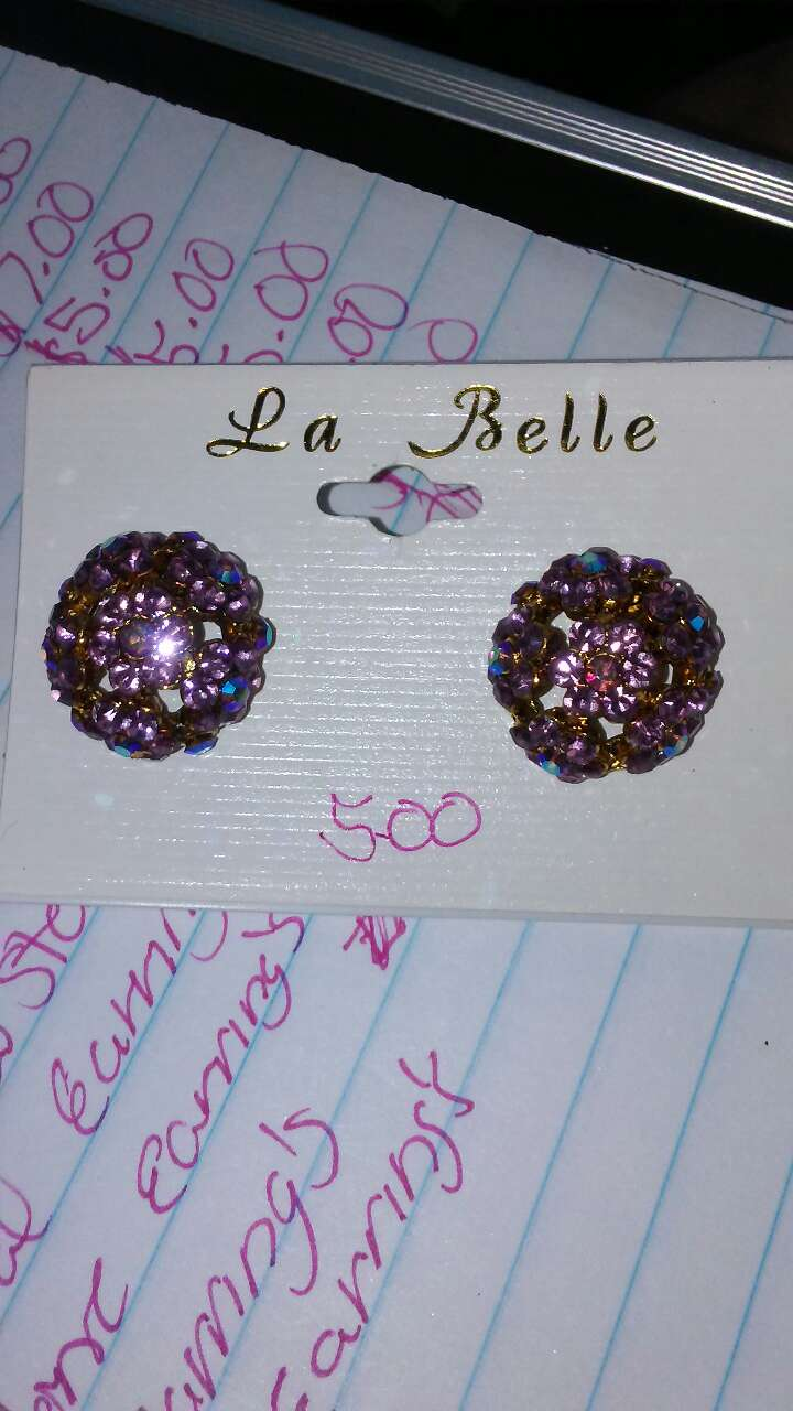pink and silver stud earrings