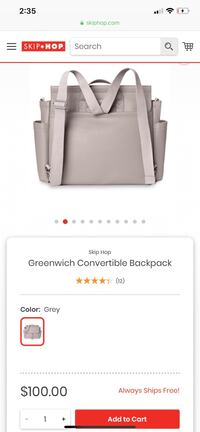 SKIPHOP Greenwich Convertible Backpack Diaper Bag Pickering, L1V 3W6