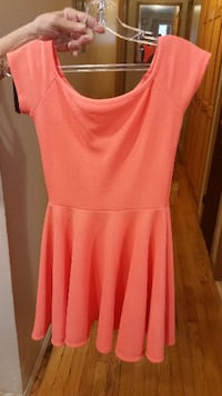 women's orange cap-sleeved dress
