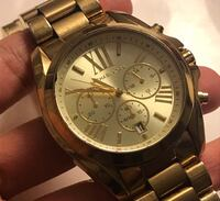 Round silver michael kors chronograph watch with link bracelet Coquitlam