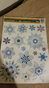 white and blue snowflakes sticker