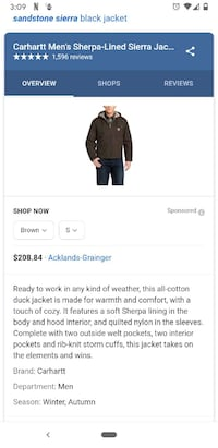 Brand new mens Sherpa Carhartt jacket