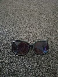 black framed sunglasses with black lens null