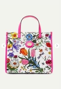 NWT GUCCI Flora leather-trimmed printed