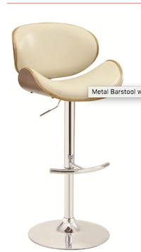 white and brown leather cushion - metal bar stool Portland