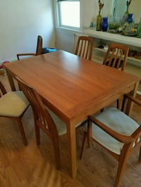 Teak mid-century dining table w/6 chairs
