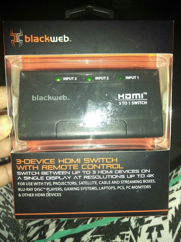 Blackweb HDMI 3 to 1 Switch 3-device HDMI Switch with remote control package