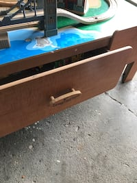 Train table with drawers on both sides and a bunch of trains to go with Wilmot, N3A