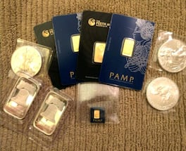 Gold and silver coins and bars