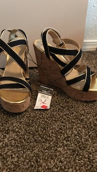 Black-and-brown open-tole slingback-stripe wedge leather sandals Redding