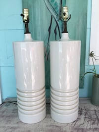 Pair Mcm mid century modern lamps large table cylinder white vintage Gulfport, 33707