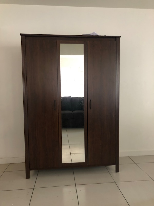 Large Dark Wood Armoire With Mirror