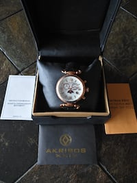NEW Akribos XXIV Women's AK754BKR Moon-phase Swiss Watch  Toronto