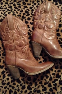 brown leather cowgirl booties Thibodaux, 70301