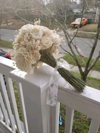 All white wood flower bouquet