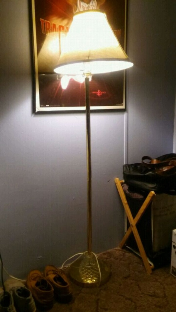 black metal base floor lamp