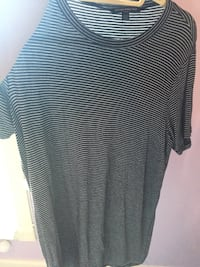 Black and gray striped crew-neck t-shirt dress