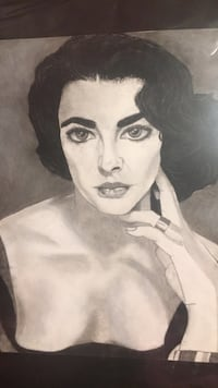 Elizabeth Taylor black and white charcoal drawing Albuquerque, 87112