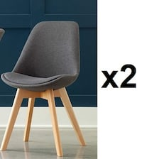 "Set of 2 OFM 161 COLLECTION MID CENTURY MODERN FABRIC DINING CHAIRS, 18"", GREY"