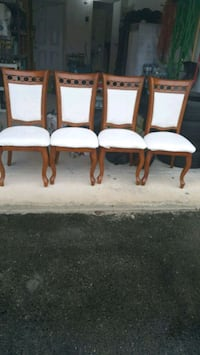four white padded chairs with brown wooden frames Vaughan, L6A 0T4