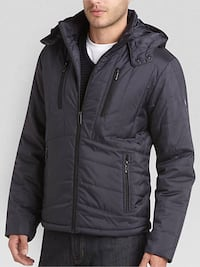 NEW T-TECH BY TUMI NAVY QUILTED HOODED MODERN FIT JACKET SIZE S Vancouver