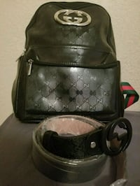 black and gray Coach leather backpack Orlando