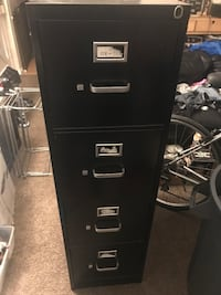 Used black filing cabinet- 4 drawer. No key. Campbell, 95008