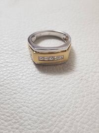 Brand New 18k Yellow & White Gold Mens Ring