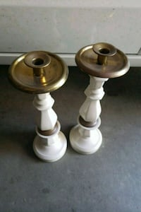 two white-and-brown candle holders Temecula, 92591