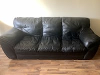Living Room Set - Black Leather Sofa Couch + Loveseat