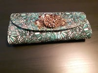 Green and white long clutch