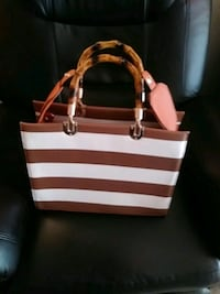 white and brown leather tote bag Humble, 77338