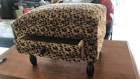 Brown and black leopard antique covered wood stool. small with drawer