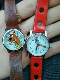 two round silver analog watches with red leather s Windsor, N9B 2A6