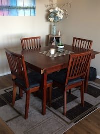 rectangular brown wooden table with six chairs dining set Halifax