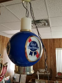 Pabst hanging light beer sign