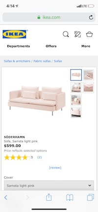 Pink IKEA Soderhamn Couch BRAND NEW IN BOX NEVER OPENED 220 mi