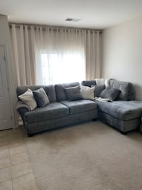 gray suede sectional sofa with throw pillows Ashburn, 20147