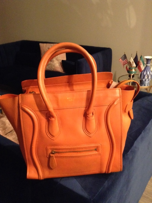 Used Authentic Celine orange leather nano luggage tote for sale in San Jose ce1c501ac4632