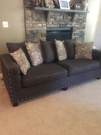 Smoke gray couch with 7 pillows. Smoke-free home. Leesburg, 20175