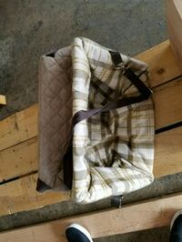 gray and brown plaid textile