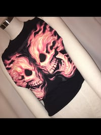 LADIES VINTAGE BLACK & ORANGE SLEEVELESS SKULL TEE Calgary, T2N 3R6