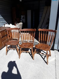 3 Antique wooden chairs in good condition Universal City
