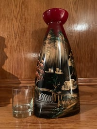 """Hand Painted Ceramic Vase 16"""" tall, glass in picture for size reference. As new. Cross posted Calgary, T3A 4R8"""