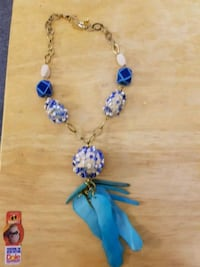 blue and white beaded necklace Vancouver, V5M 3X6