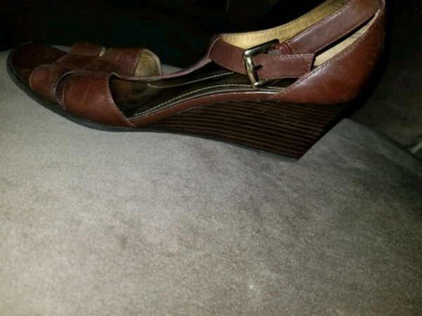 7f76cfe65 Used pair of brown leather wedge sandals for sale in Queens - letgo