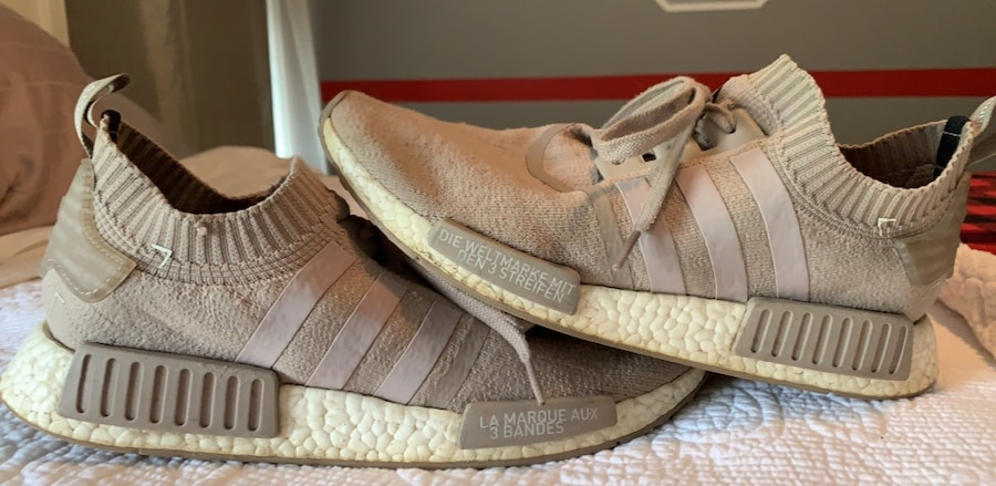 Used Size 12 French Beige Adidas NMDs