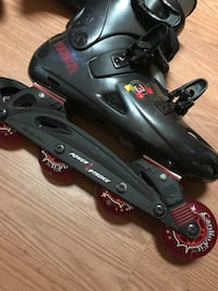 Black and red inline skates