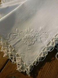 Linen Embroidered Table Napkins Crocheted Lace